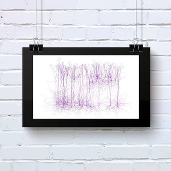 Neuro Science inspired Art Abstract office wall art purple and pink geeky Giclee on cotton rag paper Limited Edition Neuro_9q
