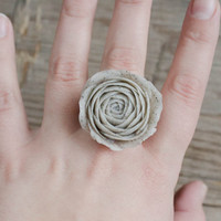Gray Stone White Floral Ring Rose, Ranunculus, Rose Ring, Flower Ring