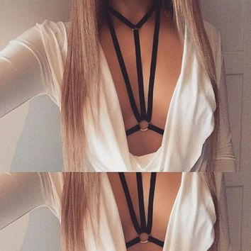 Hot Sexy Womens Bandage Harness Bra Strappy Hollow Out Bra Bustier Push Up Bra Spaghetti Strap Bralette Unlined W5