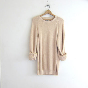 Vintage natural off white sweater. Oversized sweater. long cotton knit pullover.