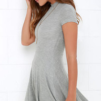 Endless Entertainment Grey Short Sleeve Skater Dress