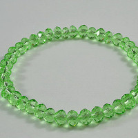Green Crystal Beaded Stretchy Bracelet, Shiny,  Sparkly, Adorable Bracelet