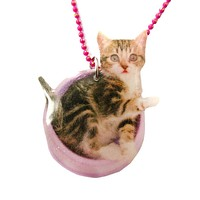 Adorable Baby Kitty Cat in a Food Bowl Animal Shaped Pendant Necklace | Handmade
