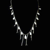 Long Drippy Pearl Tear Drop And Chain Statement Necklace