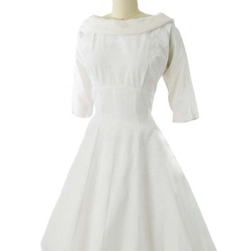 50s Off White Embossed Faille Princess Style Dress