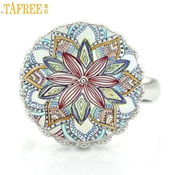 TAFREE vintage buddhist yoga  mandala jewelry fashion women crown rings  meditation art zen ring for lovers' gifts CT385