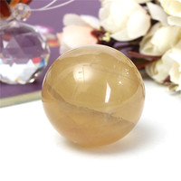 40mm Luck Natural Citrine Quartz Crystal Sphere Ball Stone Healing Gemstone for Home Office Decoration Crafts Gift