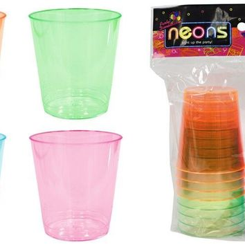 2 oz. Neon Plastic Shot Cup Tumblers 4 Assorted Colors 16-Packs Neons - CASE OF 36