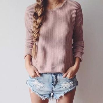 Loose round neck solid color Knitwear Tops Sweater
