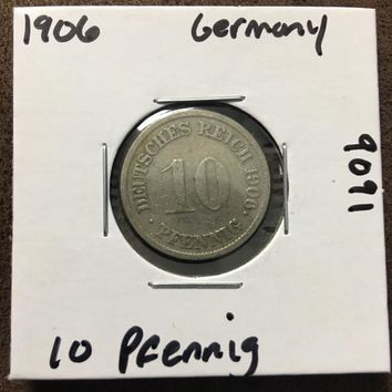 1906 German Empire 10 Pfennig Coin 9091