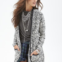FOREVER 21 Faux Leather-Trimmed Cardigan Black/Cream