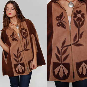 Vintage 70s Suede Poncho BUTTERFLY & FLOWER Two Toned Hippie Boho MEXICAN Leather Cape