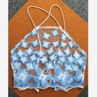 Sexy backless coat embroidered butterfly sling TOP
