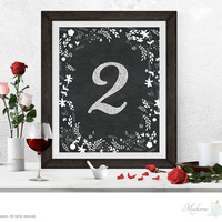 Table number sign printable instant download wedding signage, printable signs, party signs, retro printable signs, floral art print, vintage art prints signs