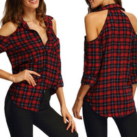 Fashion Retro Vintage Women Long Sleeve Off Shoulder Plaid Shirt Top _ 10287