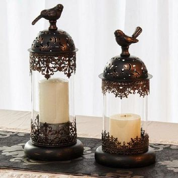 Antiqued Style Copper Bird Dome Candle Holder