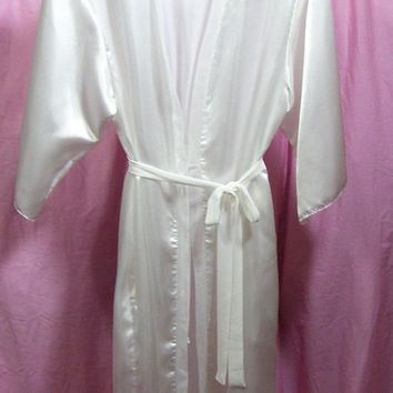 Satin Robe, White, Kimono Wrap, Sexy, Attached Belt, Oscar de la Renta, Size M Medium, Bridal Honeymoon, Resort Cruise Wear