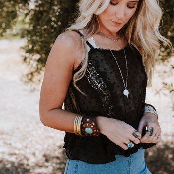 Dusk To Dawn Lace + Ruffle Cami - Black