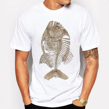 Summer T Shirt Men T-shirt Compression Hip Hop Bony Piranha Fish Print Funny T Shirt Mens Tee Shirt Homme Camisetas tshirt