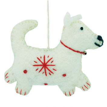 White Felt Dog Holiday Ornament