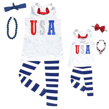 Usa Red White Blue Outfit Sparkle Glitter Tank And Capri