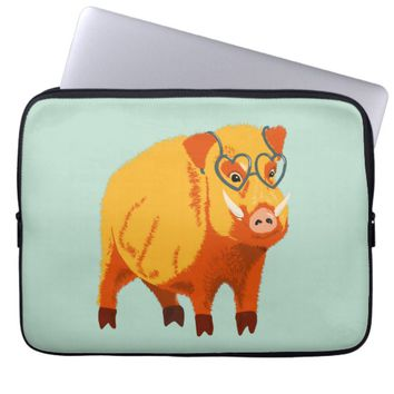 Cute Boar Pig With Heart Shaped Glasses Computer Sleeve