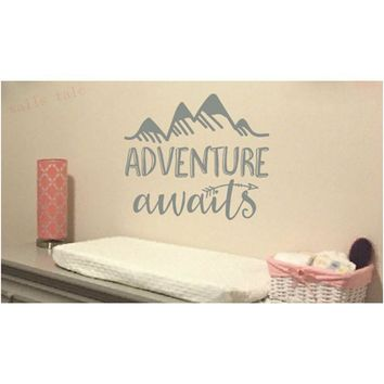 Adventure awaits Vinyl Wall Decal Art Nursery Quote Removable sticker Arrows Mountains Explorer Nature Modern Nursery decor