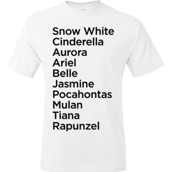 Disney Princess Names Unisex TShirt  Sizes S M L XL  by Cakeworthy