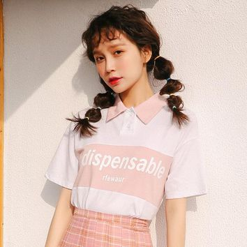 summer tops for women 2018 harajuku kawaii clothes white shirt korean fashion letter printing stitching trend pink women t-shirt