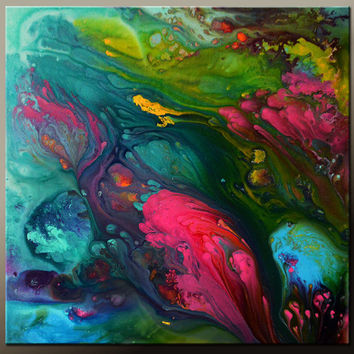Abstract Canvas Art Painting Canvas 24x24 Original Contemporary Paintings by Destiny Womack - dWo - Tranquility