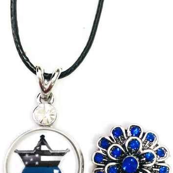 "Star USA Flag Officer Thin Blue Line Snap on 18"" Leather Rope Diamond Pendant Necklace W/ Extra 18MM - 20MM Snap Charm"
