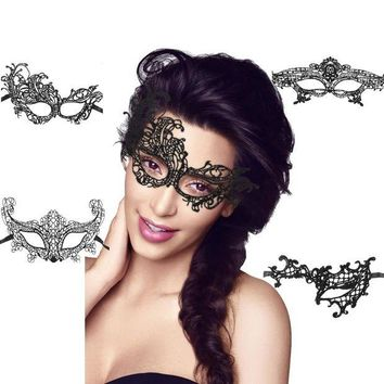 DCCKU7Q Fashion Sexy Women Black Lace Eye Face Mask Masquerade Party Fancy Dress Costume Lady Gifts Party Masks