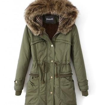 Roseate Womens Long Down Coat Green Casual Parkas with Faux Fur Trim Hood US Large / Asian XX-Large
