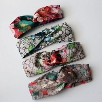 Trendy GUCCI Flower Print Women Silk Headband