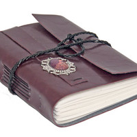 Burgundy Faux Leather Wrap Journal with Lined Paper and Cameo Bookmark