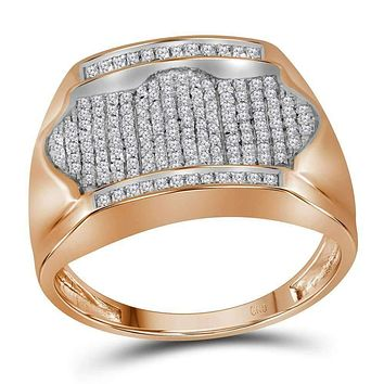 10k Rose Gold Men's Round Diamond Rectangle Arched Cluster Ring - FREE Shipping (US/CA)