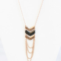 Gold & Gunmetal Chevron Chain Necklace