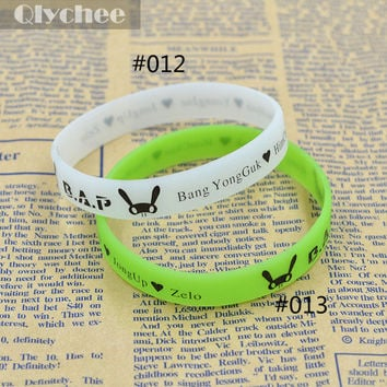 1 Pcs Silicone Bangle Light in the Dark Printed Logo Rabbit B.A.P Member Name Wristband Bracelet Noctilucence Green