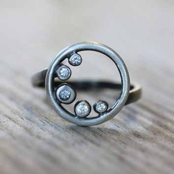 White Sapphire Cresent Moon Ring Recycled by onegarnetgirl on Etsy