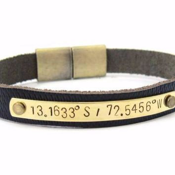 Men's Custom Coordinate Leather Bracelet