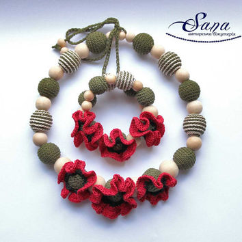 """Nursing necklace set """"Red poppy"""" — Handmade set for mom&baby —Teething Necklace Wooden and crochet Necklace - Crochet Breastfeeding Necklace"""