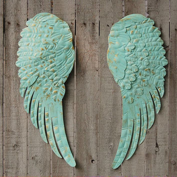 Angel Wings, Shabby Chic, Aqua, Gold, Metal, Upcycled, Hand Painted, Shabby Chic Decor, Boho Chic, Wall Decor, Wall Hanging, Nursery Decor