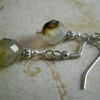 Light Tan Gray Faceted Quartz Gemstone Earrings White Brown Rustic Silver Beaded Jewelry