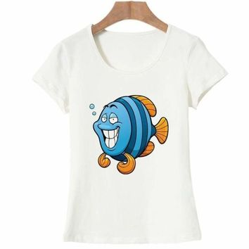 Fashion Summer T Shirt Women Funny Printed Fish  T-shirt Tops Tee