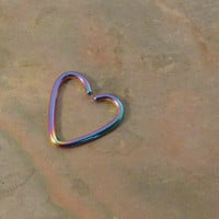 Rainbow Heart Rook Ear Piercing Cartilage