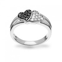 Bling Jewelry Sterling Silver Black White CZ Double Heart Ring:Amazon:Jewelry