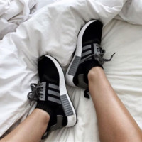 """Adidas"" Fashion Flats Sneakers Sport Shoes Black-grey line"