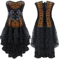 STEAMPUNK Renaissance corset Retro Dress Gothic clothing Bib+lace skirt Burlesque