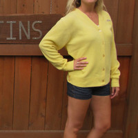 vintage canary yellow Izod button down cardigan