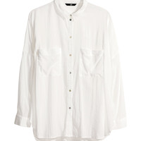 H&M - Loose-fit Shirt - White - Ladies